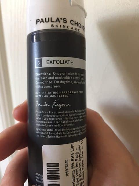 paula's  choice bha liquid ingredients